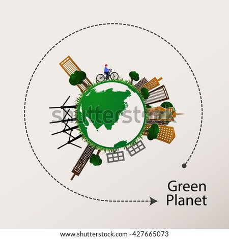 Vector illustration of a concept green planet, flat style.