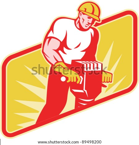 vector Illustration of a construction worker at work operating a jackhammer facing front with sunburst in the background on isolated white background.