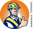 vector illustration of a construction worker thumbs up done in retro style set inside circle - stock vector
