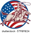 vector illustration of a cowboy riding horse with lasso and american flag - stock vector