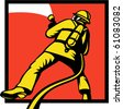 vector  illustration of a Firefighter or fireman aiming a fire hose viewed from rear in retro style - stock photo