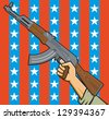 Vector Illustration of a fist holding an assault rifle in front of American stars and stripes. - stock vector