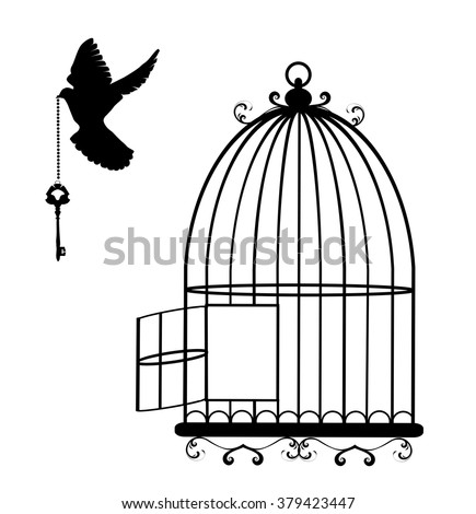 vector illustration of a flying dove with a key and cage open