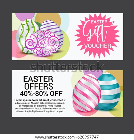 Easter sale banner template background be stock vector 608825492 vector illustration of a gift voucher for happy easter negle Images