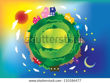 Vector illustration of a global scene with houses and building, day and night.