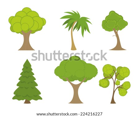 Vector illustration of a green trees set