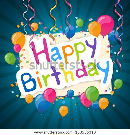 Happy Birthday Greeting Card Party Colorful Vector 587790410 – Latest Birthday Greeting Cards