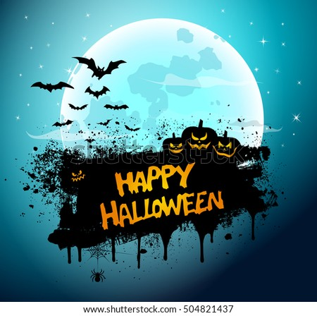 Vector Illustration of a Happy Halloween Message Design Background
