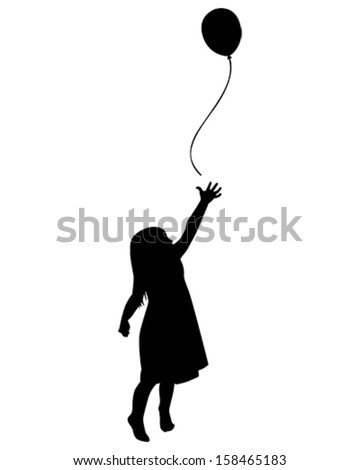 vector illustration of a little girl reaching for a balloon