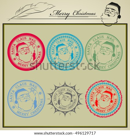 vector illustration of a mail stamp with the Jolly face of Santa Claus