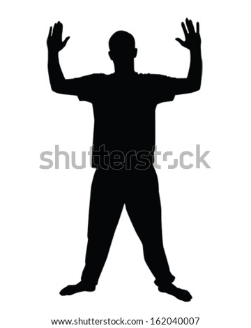 vector illustration of a man with both hands in the air