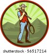 vector illustration of a Miner carrying pick axe with mountains set inside an oval - stock vector