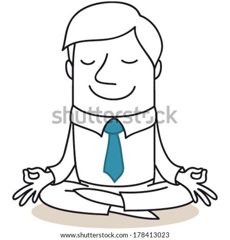 Vector Illustration Monochrome Cartoon Character Calm ...