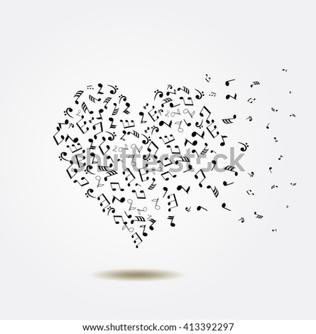 vector illustration of a musical heart with notes