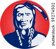 vector  illustration of a native american indian chief facing front view. - stock