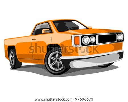 ... of a Orange Classic Transportation Truck or Loader Jeep - stock vector