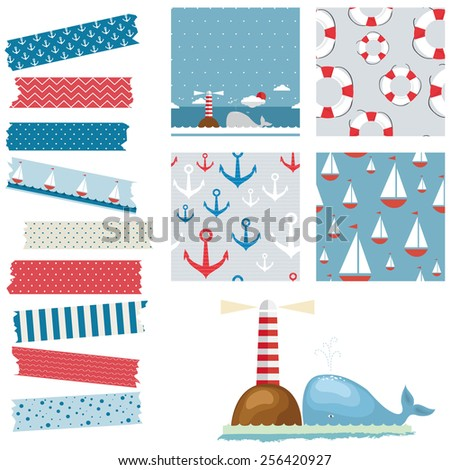 Vector illustration of a set of background patterns, decorative lines, monochromatic, marine theme, for scrapbook and other designs