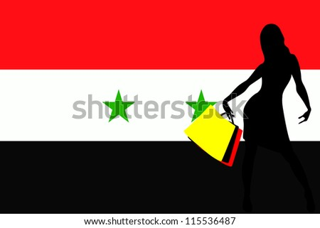 Vector Illustration of a sexy woman silhouette with shopping bags with the flag of Syria