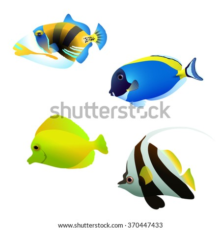 Vector illustration of a shoal of tropical fish. Set of different color of tropical fish. Coral cartoon fish.Aquarium fish on an isolated background