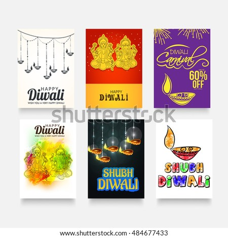 Vector illustration of a Traditional Indian Festival Diwali Card Set.