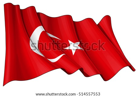 Vector Illustration of a waving Turkish Flag. All elements neatly organized. Lines, Shading & Flag Colors on separate layers for easy editing.