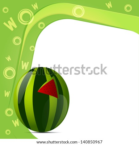 Vector illustration of alphabet W for watermelon