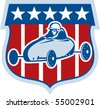 vector illustration of an american Soap box derby car with shield and stars and stripes in the background. - stock photo