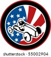 vector illustration of an american Soap box derby car with stars and stripes in the background. - stock photo