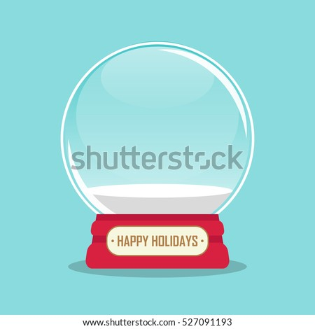 vector illustration of an empty snow globe with happy holidays inscription. EPS
