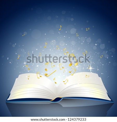 Vector Illustration of an open Book with Notes