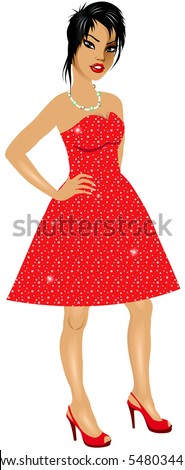 Vector Illustration of Asian woman with red sparkle dress and red heels.