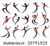 vector illustration of assorted abstract figure silhouettes - stock vector