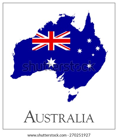 Vector illustration of Australia flag map
