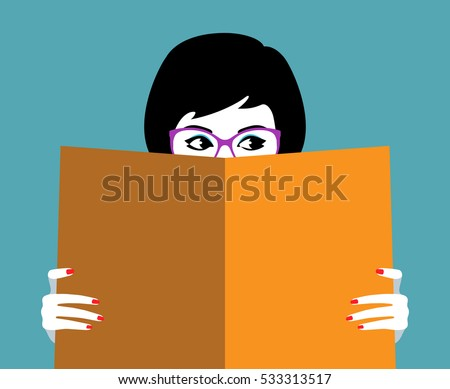 Vector illustration of beautiful girl face behind big book