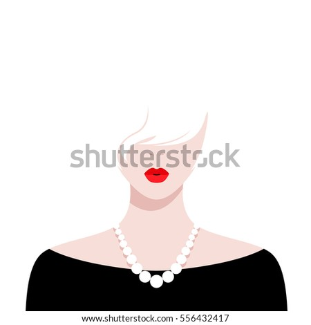 Vector illustration of beautiful girl with red lips and white hair wearing black dress against white background