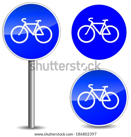 vector illustration of bicycle blue sign on white background