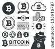 Vector illustration of bitcoin design elements, badges, labels, and icons. Includes a shading criminal to represent the anonymous, black market aspect of the currency. Eps10. - stock vector