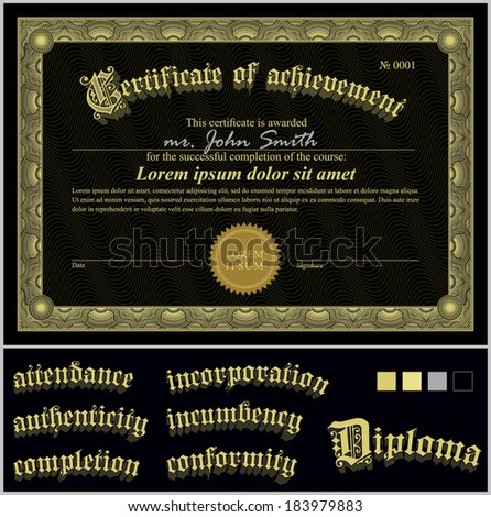 Vector certificate template premium minimal design stock vector vector illustration of black and gold certificate template horizontal additional design elements yadclub Choice Image