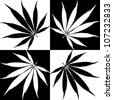Vector illustration of black and white cannabis leaf - stock vector