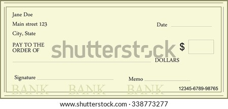 Vector Illustration Blank Bank Check Template Stock Vector ...
