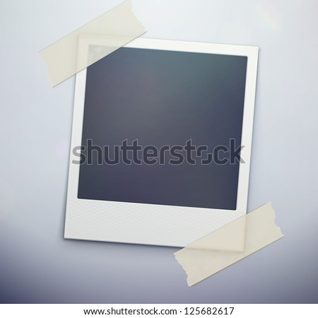 Vector illustration of blank retro photo frame over soft background