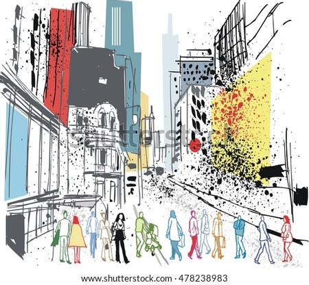 Vector illustration of busy Manhattan street with pedestrians and tall buildings.
