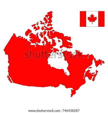 Abstract Vector Color Map Canada Country Stock Vector - Canada map with flag