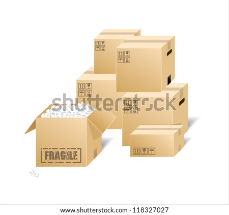 Vector illustration of cardboard boxes