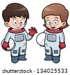 Vector illustration of Cartoon astronaut kids - stock vector