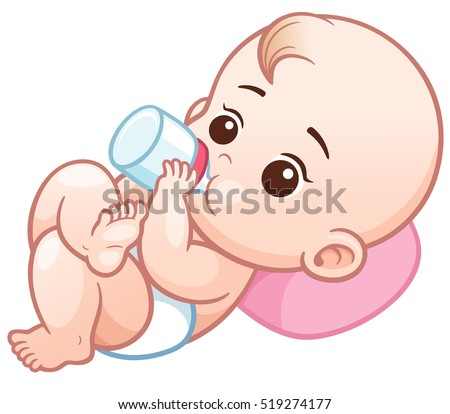 Vector Illustration of Cartoon baby holding a milk bottle.Baby infant eating milk