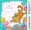 Vector illustration of cartoon cat character. Happy Birthday card. - stock vector
