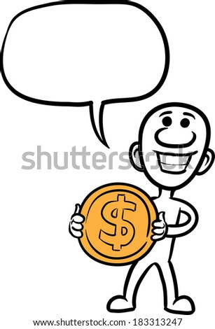 Vector illustration of cartoon doodle small person - holding big dollar coin. Easy-edit layered vector EPS10 file scalable to any size without quality loss.