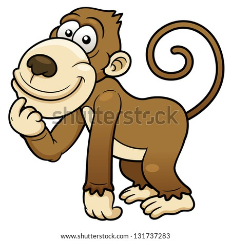 Funny Cute Monkey Vector Illustration