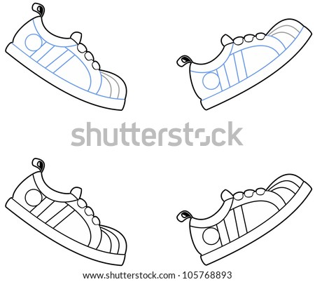 Vector illustration of cartoon running shoes in a walking motion